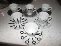 Bodum Expresso Cups & Saucers Set Black & White