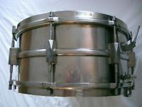 "Premier Dominion Major NOB snare drum 14 x 6 1/2"" - England - Vintage 1930s- Modded"