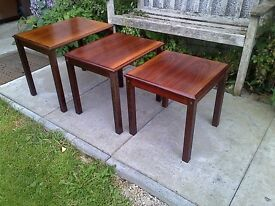 Rosewood Danish Nest of Tables Side Mid Century by Trioh