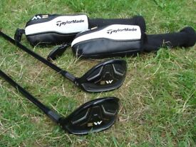 Taylormade M2 #4 22 Degree Hybrid and #5 25 Degree Rescue with Headcovers Regular