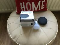 Google home mini speaker and smart bulb
