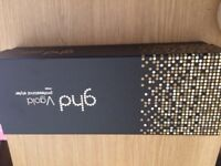 Brand new in box GHD V gold hair straighteners. Wide plate professional styler.