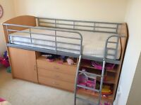 Kids Cabin Bed High Sleeper with Memory Foam Mattress