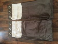 chocolate and cream satin curtains