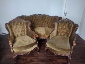 Carved wooden matching 3 piece suite (1x sofa / settee & 2x armchairs), rococo style reproduction.