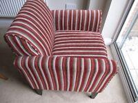 Next deep red striped armchair