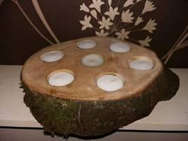 Log tealight holder