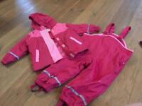 Baby waterproof coat and trousers, age 12-24m