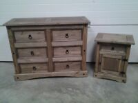 Ex display Dark Mexican pine large chest drawers and bedside cabinet. Very good Can deliver.