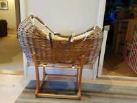 Wicker moses basket with, wooden stand, green sheep matress unused