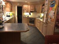 Solid oak kitchen cupboards and worktops