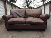 Laura Ashley Abington leather two seater sofa RRP £1900