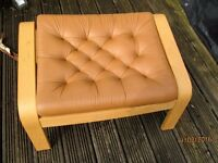 FOOT STOOL Wooden Frame with Tan Leather top from Ikea