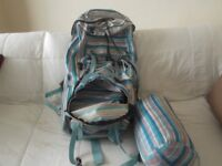 hiking backpack with matching sleeping bag single both striped very good condition