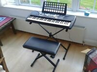 Yamaha PSR-270 Electronic Keyboard, including stand and stool