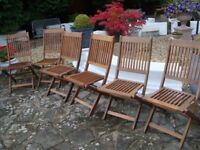 SET OF SIX HARDWOOD PATIO / GARDEN CHAIRS ALL FOLD FOR STORAGE IN EXCELLENT CONDITION ONLY £60