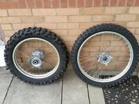 Honda XR650R front and rear wheels with Michelin tyres