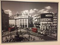 Large framed picture of Piccadilly Circus London 'red buses'
