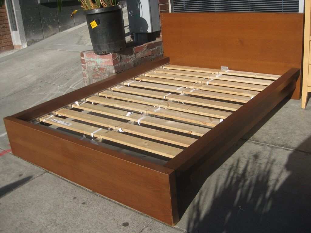 Ikea malm bedframe double walnut colour in thornaby for Ikea wood type