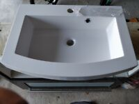 Wall hung vanity unit basin 600mm wide by 430mm depth