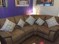 Stunning brown suede reclining corner suite