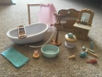 Sylvanian family bathroom furniture accessories bath toilet shower