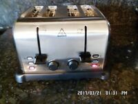 BUSHED STEEL AND CHROME RUSSELL HOBBS 4 SLICE TOASTER FULL WORKING ORDER