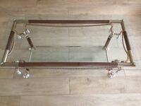 Gold and Brown glass coffee table