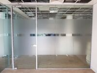 (USED) Toughened Glass Partition System (with 3 panels & glass door) for bargain £390