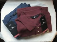 Two M&S Blue Harbour Men's Short Sleeve Polo Shirts, Large, New with Tags