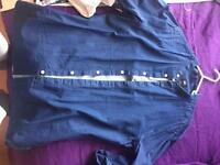 Men's H&M collarless denim shirt size m
