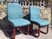 2 Teal Colour and Hard Wood Quality Chairs