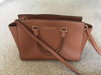 Michael Kors Medium Selma Tan Saffiano Leather Satchel