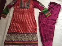 Indian Pakistani ladies suit 2 pieces cotton size 12 used good condition £5