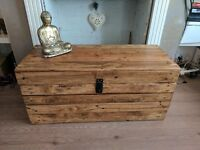 Large Rustic wooden trunk/chest storage/coffee table ottoman.Handmade/reclaimed/clamshell lid