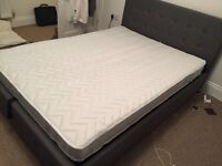 OTTOMAN Double Storage Bed With Mattress. Dark Grey Upholstered. 6 months old, excellent condition