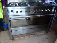 smeg range cooker 1200cm 6 burner top 2 electric ovens used but in excellent condition,cost £3200.