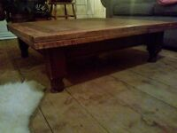 Large wooden coffee table - shabby chic/vintage/rustic