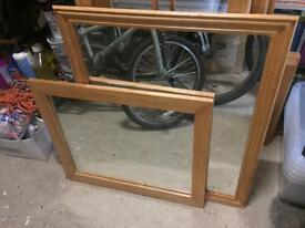 2 Mirrors with solid wood surround