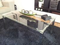 Modern Look Glass & Chrome Coffee Table with matching Side Table