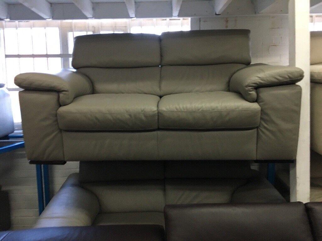 New/ExDisplay Reid Liberata Grey Leather 2 Seater Sofa (movable headrest)