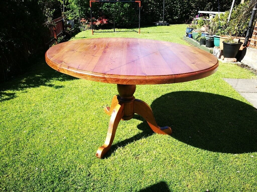 Large Round Dining Table Solid Wood With Pedestal Country Kitchen - 50 inch round pedestal table