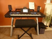 YAMAHA TYROS 4 10TH ANNIVERSARY SPECIAL ADDITION KEYBOARD. COMPLETE WITH STAND & STOOL