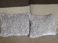White And Grey Small Plush Scatter Cushions With Duck Feather Filling approx 40cm x 30cm Made in UK