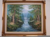 Woodland with cascading Waterfall canvas original Oil Painting by K. Stevens