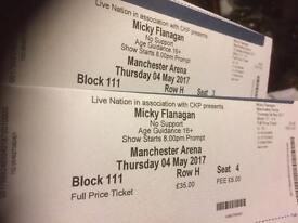 Mickey Flanagan Manchester Arena 4th May tickets x2 Lowe tier