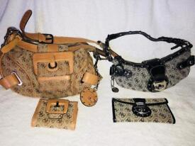 Ladies Guess handbags with matching purse