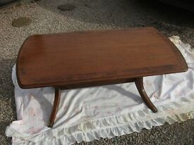 LOVELY OBLONG PERIOD TABLE WITH SPLAYED LEGS BRASS FEET