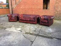 Leather chesterfield suite oxblood 3 piece set 3 seater 2 chairs timeless chesterfield suite CAN DEL