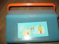 PLASTIC NAPPY BOX IN MINT GREEN COLOUR WITH ELEPHANT MOTIF - CLEAN AND READY FOR UPLIFT